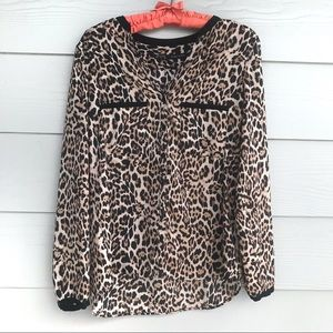 Zara leopard print long sleeve casual blouse top S